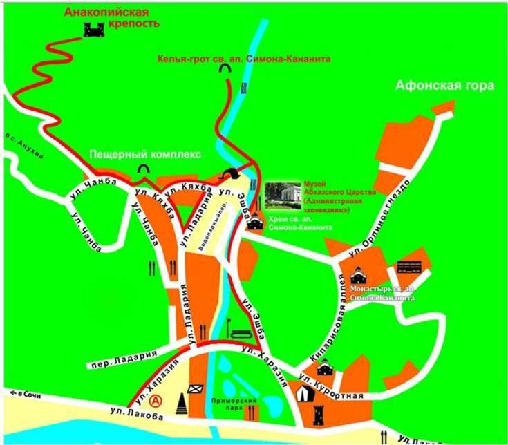 Достопримечательности Нового Афона на карте города