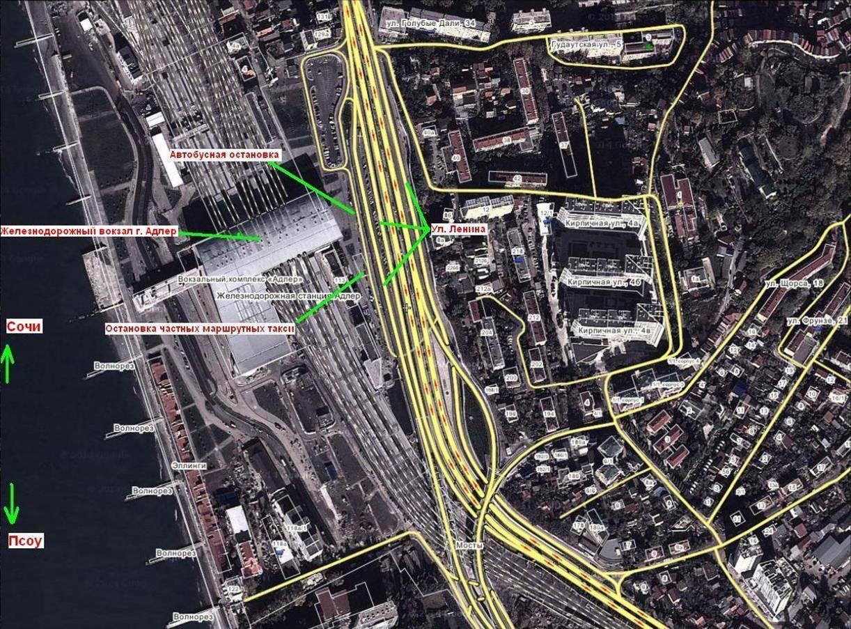 Схема привокзальной площади ж/д вокзала Адлера (кликабельно)