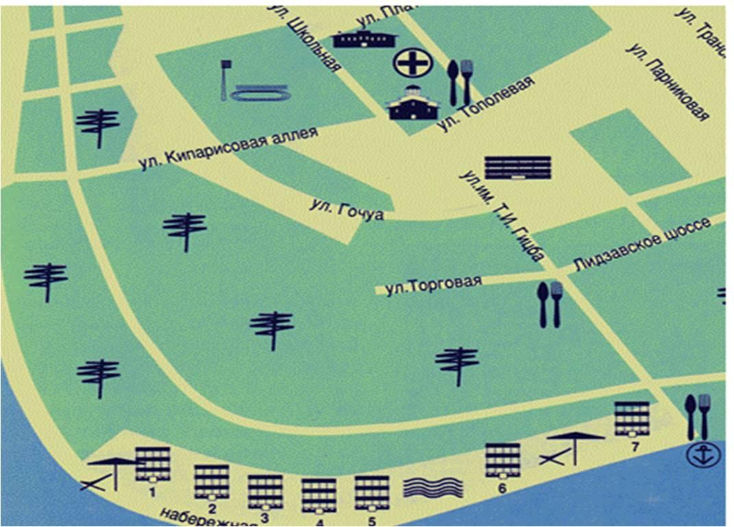 Центр Пицунды на карте (кликабельно)