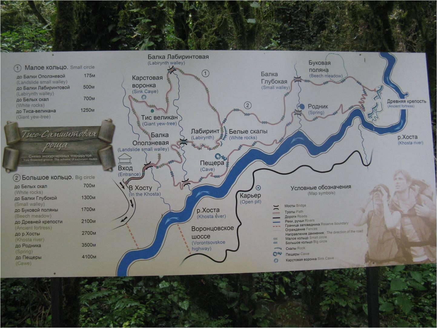 Карта-схема Тисо-Самшитовой рощи